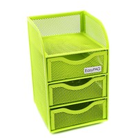 EasyPAG Mesh Desk Organizer 3 Drawer Mini Hutch Office Supply Caddy Green