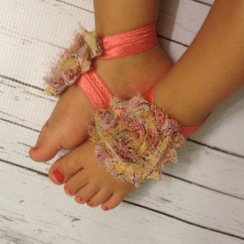 Baby Barefoot Sandals... Coral w/yellow Paisley Barefoot Sandals