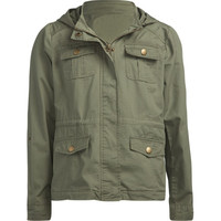 Full Tilt Hooded Twill Girls Anorak Jacket Olive  In Sizes