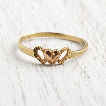 SALE - Vintage 14K Yellow, Rose Gold Heart Ring -  Size 7 Two Tone Gold Promise Fine Jewelry / Love & Romance