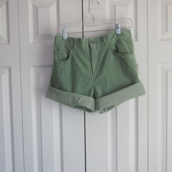 Green Shorts, Corduroy High Waisted Shorts, Womens 10, Stretch Shorts, Cut Off Jean Shorts, Green Cords, High Waist 33, Jones Cutoffs