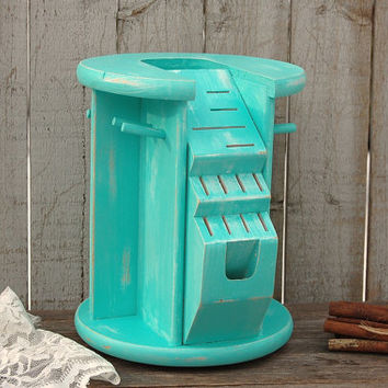 Lazy Susan, Utensil Holder, Knife Block, Shabby Chic, Tiffany Blue, Aqua, Turquoise, Hand Painted, Distressed, Upcycled, Kitchen Organizer