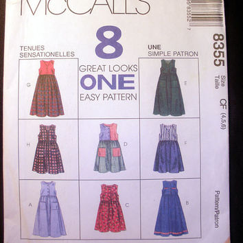 Girls Easy Jumpers in 2 Lengths, Child's Size 4, 5, 6 McCall's 8355 Sewing Pattern Uncut