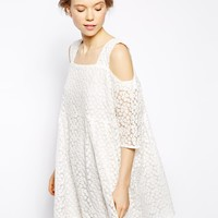 Little White Lies Off Shoulder Smock Dress In Daisy Lace