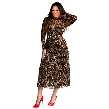 Alanna Mesh Long Sleeves Leopard Print Maxi Dress