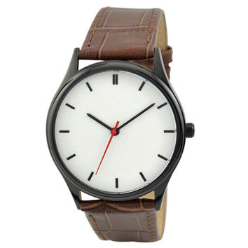 Minimalist  Watch (Black/black) Brown Band - Free shipping