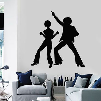 Vinyl Wall Decal Silhouette Disco Dancers Dance Party Art Stickers Mural Unique Gift (ig5030)