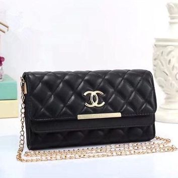 ONETOW Chanel' Fashion Personality Quilted Solid Color Double Layer Flip Metal Chain Single Shoulder Messenger Bag Women Clutch