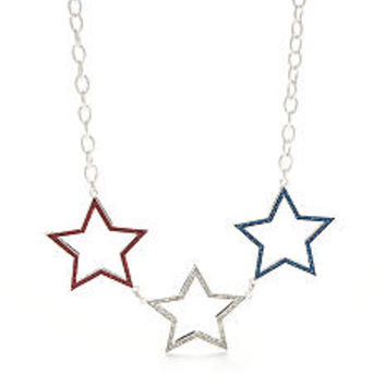 Red Camel® Silver-Tone Americana Star Collar Necklace