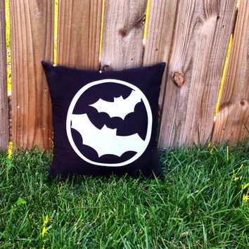 Glow in the Dark Bats Halloween Throw Pillow, Halloween Decor, Bat Pillow, Halloween Pillows, Home Decor, Spooky **FREE SHIPPING**