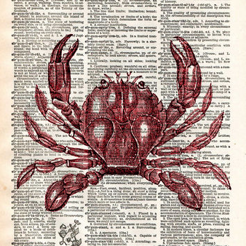 Crab print, nautical print, beach decor, dictionary page art print