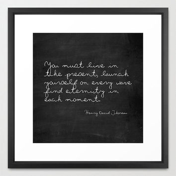 Typography Print - Henry David Thoreau - Launch Yourself On Every Wave - Black and White - Chalkboard Print - Wall Art - Inspirational
