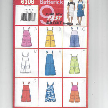 Butterick 6106 Pattern for Girls' Jumper & Overalls, Size 12-14-16, 9 Sew Fast and Easy, from 1994, FACTORY FOLDED and UNCUT