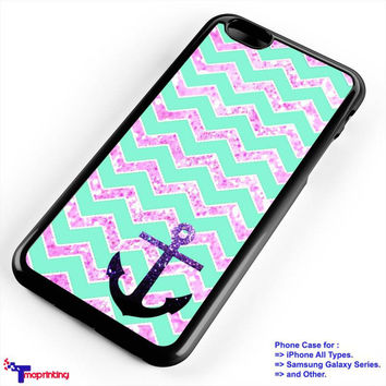 Chevron Anchor Sparkly - Personalized iPhone 7 Case, iPhone 6/6S Plus, 5 5S SE, 7S Plus, Samsung Galaxy S5 S6 S7 S8 Case, and Other