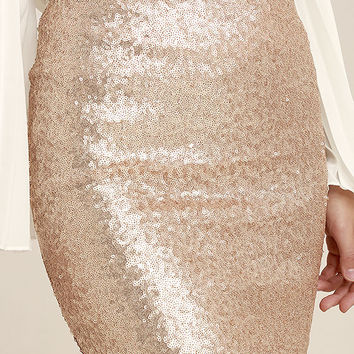 Love Me Now Gold Sequin Mini Skirt