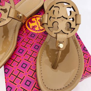 Tory Burch Miller Sandals Flip Flop Sand Tan 7 7.5 8 8.5 10