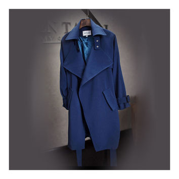 Wind Coat Long Sleeve Slim Middle Long Woman Attire   navy   S