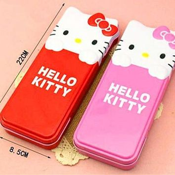 New Cute Hello kitty Metal Pencil Box Pen Case Portable Kid School Supply XK-KT9213