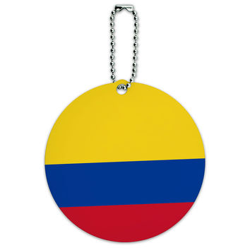 Colombia National Country Flag Round ID Card Luggage Tag
