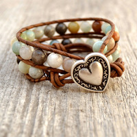 Colorful chunky wrap bracelet. Beaded flower amazonite leather wrap. Double wrap bracelet -Made to order-