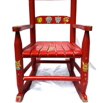 Vintage Red Children's Rocking Chair with Woodland Nursery Animals Hand Painted; Retro Mid-Century Children's Decor