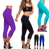 Women Tights Capri YOGA Running Pants High Waist Cropped Leggings Fitness = 1933344452