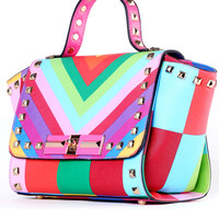 Multicolor With Rivet Twist Lock Tote Bag -SheIn(Sheinside)