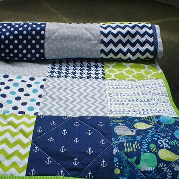 Modern patchwork baby boy quilt,Nautical Baby boy quilt,baby boy bedding,navy blue,grey,lime,whales,anchors,chevron,toddler,Nautical Laddie
