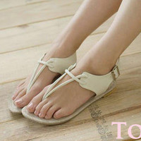 YESSTYLE: Smoothie- Thong Flat Sandals  (Beige - 38) - Free International Shipping on orders over $150