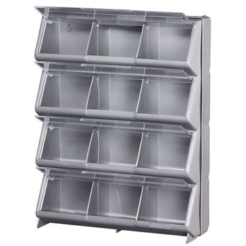Stack-On® CB-12 Clear-View 12-Compartment Storage Bin, Silver/Gray