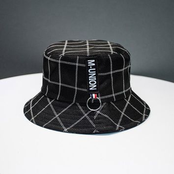 Sports Hat Cap trendy Plaid Europe Bucket Hat Women Cotton Hats 0e1c6dcd498d