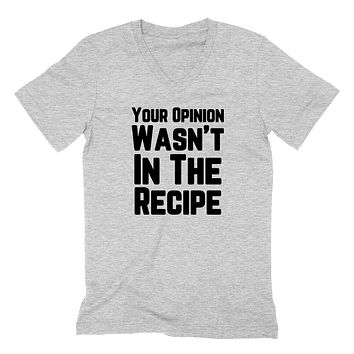 Your opinion wasn't in the recipe, funny saying, funny quote, introvert, introverting  V Neck T Shirt