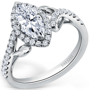"Kirk Kara ""Dahlia"" Marquise Cut Halo Diamond Engagement Ring"