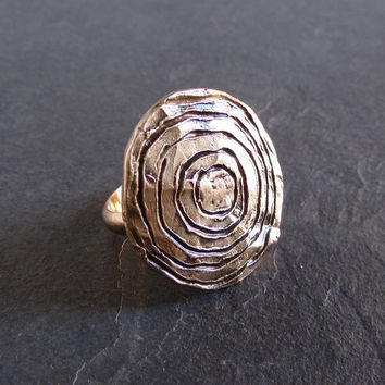 Primitive cast bronze ring // primitive ring / rustic ring / statement ring / large ring / unique ring / bronze jewelry / tribal ring