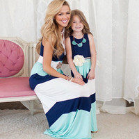Mommy and Me Blue Chevron Maxi Dress