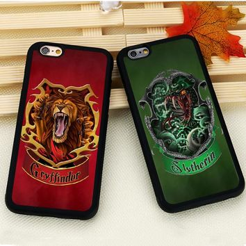 Harry Potter Slytherin Gryffindor Ravenclaw Hufflepuff Soft Rubber Phone Case For iPhone 6 6S Plus 7 7 Plus SE 5 5S 5C 4S Cover