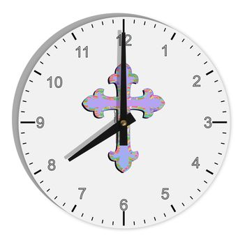 """Easter Color Cross 8"""" Round Wall Clock with Numbers"""