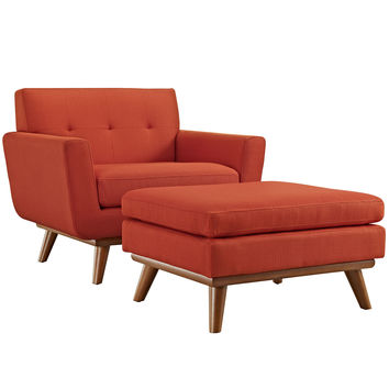 Engage 2 Piece Mid-Century Armchair and Ottoman