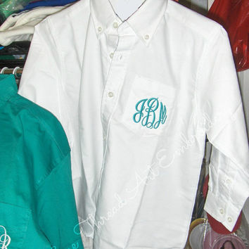 YOUTH Monogram Oxford Shirt for Bridal Party or Everyday Wear Button Down with Pocket