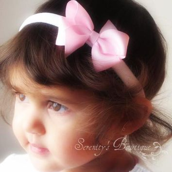 So sweet dainty pink itty bitty hair bow headband for Infants Baby Toddler and big Girls