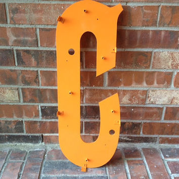 """Large Reclaimed Plastic Sign Back Panel Capital Letter """"C"""", ORANGE painted, Industrial Salvage, Home Decor, Office Decor, Industrial Decor"""