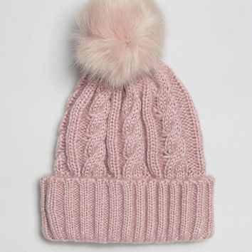 ASOS Cable Faux Fur Pom Beanie at asos.com