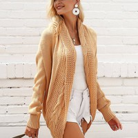 Simplee Solid Mixed Knit Shawl Collar Cardigan