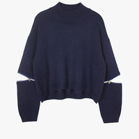 Blue Cut Out Zipper Sleeve Oversized Crop Sweater