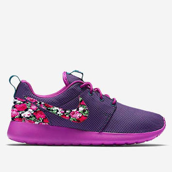 Custom Midnight Teal Floral Roses Nike Roshe Run Shoes Fabric Pattern Men's Women's Birthday Present, Perfect Gift, Customized Nike Shoes