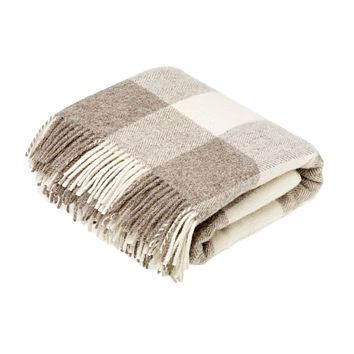 Natural Collection Pure New Wool Throw Blanket Checkaboard Beige
