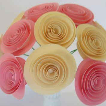 "Ivory & Pink bouquet of paper flowers 12 1.5"" Spiral Roses table Centerpiece one dozen floral arrangement on wire stems"