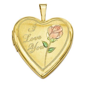 925 Sterling Silver Rose Heart Locket Charm Pendant - 25mm