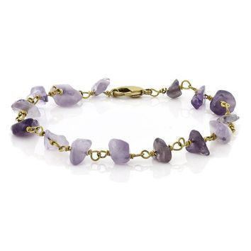 Handmade Amethyst stone Chip Bracelet 7 Inch with Lobster Clasp