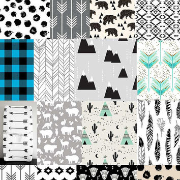Little Woolf Adventurous Crib Bedding Set, Crib Sheet, Blanket, Changing Pad Cover, 16x16 Pillow, Crib Skirt, Black+White, Modern, Woodland